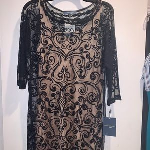 SHEER AND MESH DRESS WITH DETACHABLE UNDERLAY
